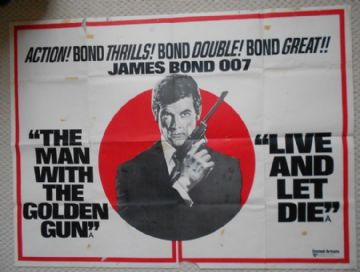 Man With the Golden Gun/ Live and Let Die, Combo UK Quad Poster, Roger Moore, James Bond 007, r70s